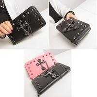 HOT SALE 2014 New  Rivets Cross Chain 100% Genuine Leather Wallets Fashion Lady Zipper Wallet Women Clutch Wallets Purses