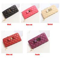 HOT SALE 2014 New Retro Bow PU Leather Wallet Fashion Vintage Lady Zipper Wallets Women Clutch Wallets Purses