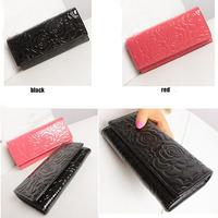 HOT SALE 2014 New Fashion Classic Camellia Patent Leather Wallet Vintage Lady Zipper Wallet Women Clutch Wallets Purses