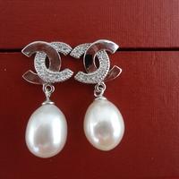 Free shipping 9-10mm Teardrop Pearl Dangle Earrings  Very Shining Pearl Earrings Gift
