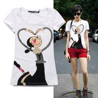 2014 cartoon warfactory beading fashion slim short-sleeve cotton t shirt women S,M,L,XL Free shipping