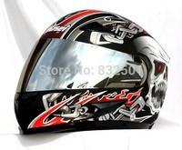 MASEI 816 L Silver Gray Black Skull Motorcycle Racing Helmets Top ABS Full Face Helmet Scooter Motorcycle Capacetes DOT Helmet