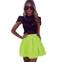 Free Shipping 2014 Summer Fluorescent Skirt Chiffon Neon Skirt Mango Candy Color Yellow Skirt S,M,L,XL,2XL,3XL,4XL,5XL13688