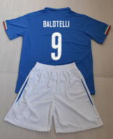 2014 BALOTELLI &DE ROSSI  PIRLO home blue soccer jersey kits (shirts+short) with Embroidery logo + can custom names