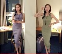 2014 New 2014 summer bohemia vest spaghetti strap full dress fashion slim hip basic one-piece dress female