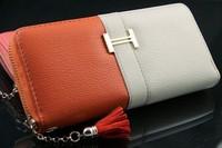 Tassel Wallets Women Fringe Purse Wrist Clutch Zipper around Pig real leather Evening Bag color block decoration women wallets