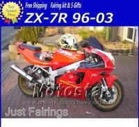 Wholesale - Full ABS fairing bodykits for KAWASAKI Ninja ZX7R ZX-7R 1996-2002 2003 ZX 7R 96 97 98 99-03 moto red black fairings