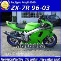 Wholesale - Freeship fairing bodywork for KAWASAKI Ninja ZX7R ZX-7R 1996-2002 2003 ZX 7R 96 97 98 99-03 black green moto fairing