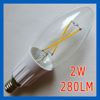 10X New LED candle chandeliers candelabra bulb lamps filament 2W AC220V 280LM E14 base warm white 2800k
