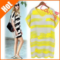 New 2014 Spring Plus Size Summer Dress Irregular Patchwork Stripe Dresses Color Block Chiffon Women Casual Dress S-XL