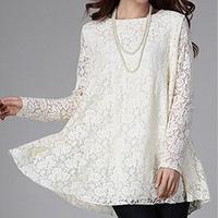 free shipping~plus size M-4XL~new 2014 sexy lace transparent sleeve o-neck women blouse fashion solid shirts female chiffon tops