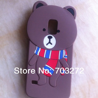 1pcs Muffler Bear Lover Cute 3D Soft Cartoon Case For Samsung Galaxy S5 i9600 Silicone Rubber Back cases Free Shipping