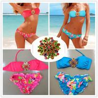 2014 New bikini brazilian Bathing suit red and blue flowers  Sexy Bikini Set Push Up Swimwear  Swimsuit Brand Style  Z01