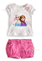 Retail+Free shipping New 2014 children girls clothing sets (top+short pants) ,baby & kids frozen bowknot clothes,baby wear,hot