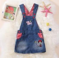 Retail 1pcs free shipping top quality girl Minnie cartoon denim dress kids sleeveless Cowboy dress child mini dress 3 style