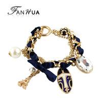 Fashion Designer Alloy Deep Blue Ribbon Acrylic Created Pearl Bracelet Charms Pulseras Mujer