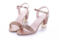 New Arrival Women's Rhinestone  Sandals, Lady's 7.5CM High Heel Sexy Genuine Leather  Open Toe Sandals  DMS1
