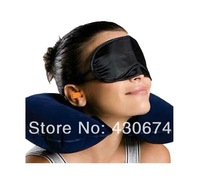 inflatable travel pillow  + eye mask + 2 Ear Plug 3 in1 Travel or  Enjoy the sun bath pillow    2*pcs Free shipping!