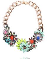 New 2014 fashion flower necklace & pendant fashion choker luxury statement chain collar bib necklace for women