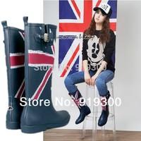 Brand New Fashion Rubber Rain Boots For Women Knee High Flat Heel Waterproof Rainboots Water Shoes Wellies Buckle  #TS6