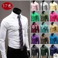 Free shipping Man Solid color long sleeve casual shirt  male slim full sleeve Business shirt  Dress shirt