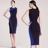 New 2014 Sexy Women Clubwear Tank Package Hip Bandage Bodycon Dress, Blue+Black, Black+White, S, M, L, XL