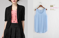 100% Silk 2014 Women Thin Blouses & Shirts Sleeveless Tops Brand Wholesale Women Clothes Fashion Apparel 12 Colors M-5XL