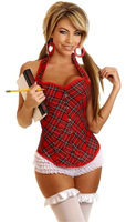 Sexy School Girl Costume  Corset Bustier Plaid  Halter G-string Size S M L XL XXL