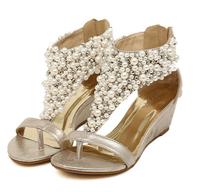 Free Shipping hot sale 2014 fashion Boheme style wedge sandals,sweet women bling flip flops,New handmade T-rhinestone sandals