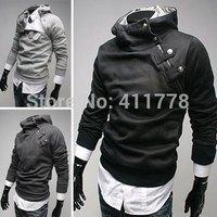 2014 NEW Spring Court oblique zipper collar sweater mouth Plus velvet hooded sweater men cultivating