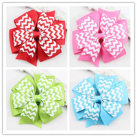 2015 New Large Ribbon Stripe Hair Bows with Hair Clips Baby Boutique Bows Hair pins Children Hair Accessories 24pcs/lot