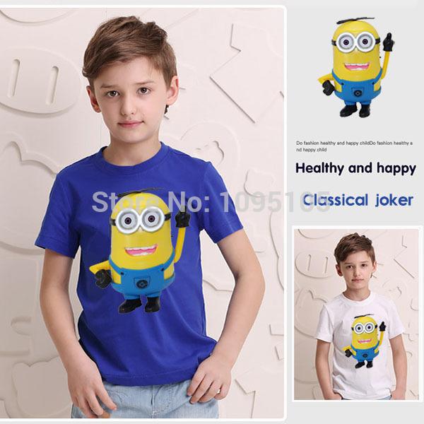 Latest Summer Cotton Cartoon Anime Minions Kids T Shirts With O Neck Short Sleeve Children Shirt Wholesale Free Shipping(China (Mainland))