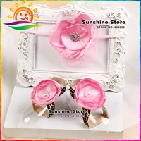 Sunshine store #2B1937 5 set/lot (pink)Baby silk satin diamond leopard Barefoot Sandals/shoes and pearl Flower Headband lace set