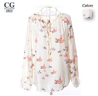 High Quality 2014 New Womens Ladies V Neck Print Casual Chiffon Blouses Shirts Vintage Shirt Tops  Freeshipping#CGS014