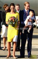 New 2014 Princess Kate Middleton Graceful Elegant Dress Light Yellow Patchwork Quality longer Dress  2014 women summer dress