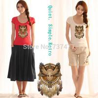 New Summer Printing Tee Shirts Trendy Graphic Owl Womens T Shirt Short Sleeve Scoop Neck Women Tops Sale