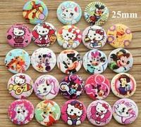 Mix kawaii wooden  button,25mm 2 holes buttons for craft,garment accessories, scrapbooking (ss-3047)