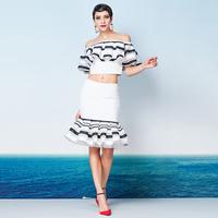 YIGELILA 876 Latest Fashion Women Striped Sexy Slack Neck Ruffles Mermaid Slim Sets Free Shipping