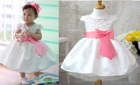 2014 new Girl baby dresses child kid cotton princess dress with bow belt size 80-110 children dresses for kids girls