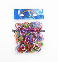 100 pack/lot 2014 NEW loom bands 2 color 2 section rubber bands  ( 200PCS rubber band + 12PCS S + 1 PCS )