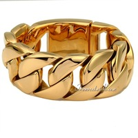 30mm Super Heavy Thick Gold Tone Gold Plated Round Curb Cuban Mens Boys Chain 316L Stainless Steel Bracelet  Wholesale HB127