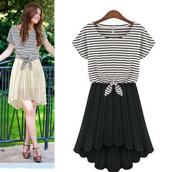 100PTHD-YFE6193#The spring summer 2014 European American fashion new striped chiffon two-piece dress loose plus size girl dress(China (Mainland))