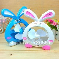 Free Shipping Rabbit  Shape Small Fan/ USB Mini Rabbit Fan With inside Battery Four colors to Choose