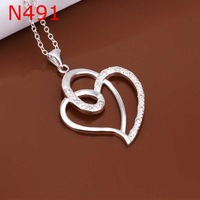 Free Shipping Wholesale 925 Sterling Silver Necklaces & Pendants,925 Silver Fashion Jewelry,Insets Stone Heart Necklace SMTN491
