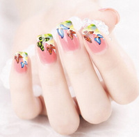 Min.order is $5 Water Transfer Nail Art Stickers Decal Multi Color Butterfly Design Half Wraps French Manicure Foils Stamp Tools