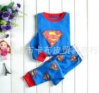 Super Man 2-7T  Kids Pajama Sets 2 Pieces Long Sleeve  Boys  Clothing Sleepwear  2014 spring free shippping