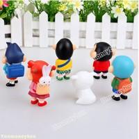 Hot sale Top quality Promotion Free Shipping New 6pcs/lot Japan PVC Anime Mini Lovely Crayon Shin Chan Figure Toy Retail