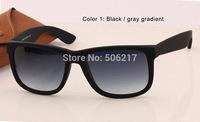 Top selling 2015 new original case fashion brand name sunglasses men women brand wayfarer justin 4165 matte black sun glasses