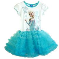 New 2014 Summer Brand Frozen Girls Summer Dress Frozen Princess Cotton Dress Anna&Elsa Lace Baby Tutu Dress Kids Party Wear