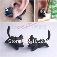 Free ship(6pcs/lot)Women's DIY Polymer clay accessories Earrings Jewelry ladies girl'cartoon cat 925 silver black earring gift